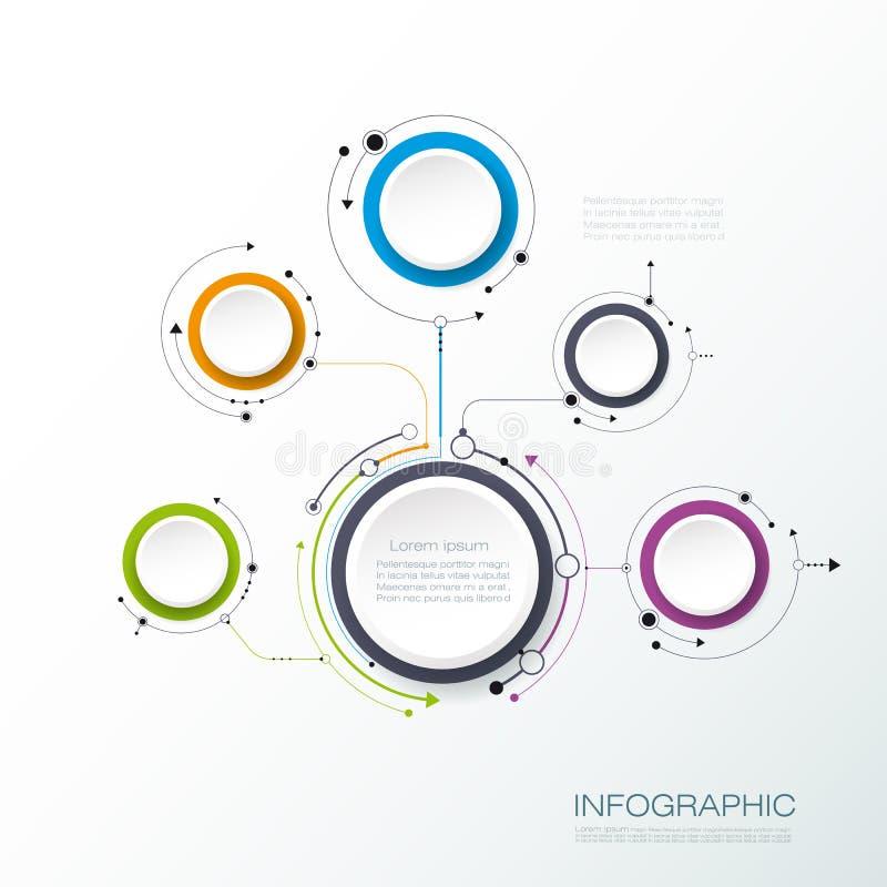 Wektorowa molekuły struktura z 3D papieru etykietką dla infographic ilustracja wektor