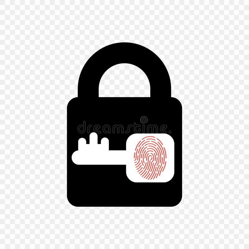 Wektorowa monochromatyczna kędziorek ikona z kluczem i odcisk palca Element na przejrzystym tle ilustracji