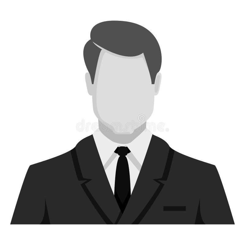 Wektorowa Monochromatyczna Płaska ikona - biznesmen w kostiumu ilustracja wektor
