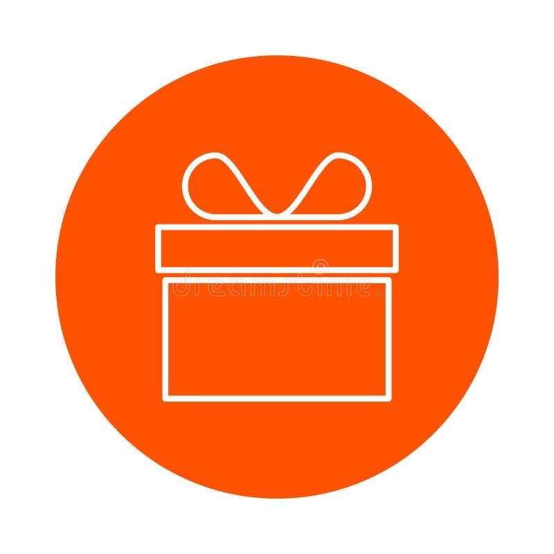 Wektorowa monochromatyczna round prezent ikona w pudełku z łękiem, mieszkanie styl royalty ilustracja