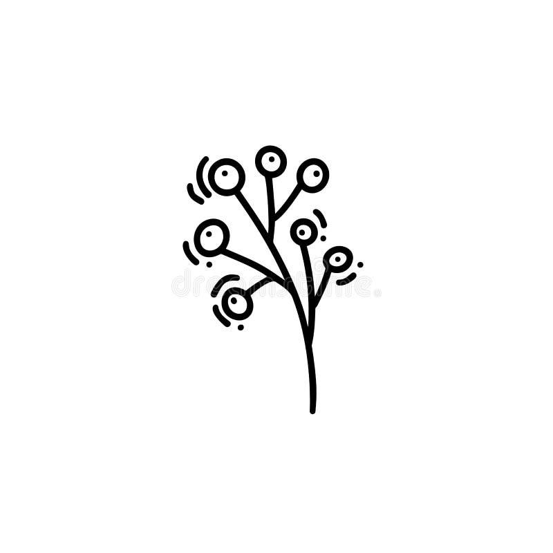 Wektorowa monoline ilustracji gałąź z jagody naturalną ikoną Czarny logo dla eco projekta z miejscem dla twój teksta ilustracja wektor