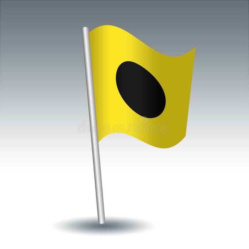 Wektorowa morska sygnałowa flaga Ja India na nachylającym metalu srebra słupie kolor żółty i b - symbol zmieniam mój kurs przesył royalty ilustracja