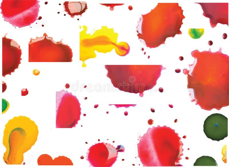 Wektorowa Multicoloured farba Splats i krople ilustracja wektor