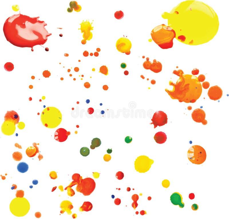 Wektorowa Multicoloured farba Splats i krople royalty ilustracja