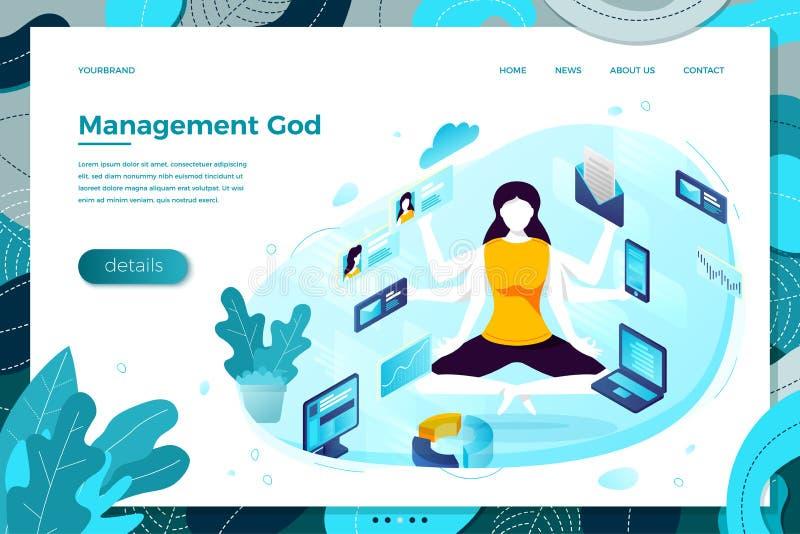 Wektorowa multitasking kierownik dziewczyna z sześć rękami ilustracji