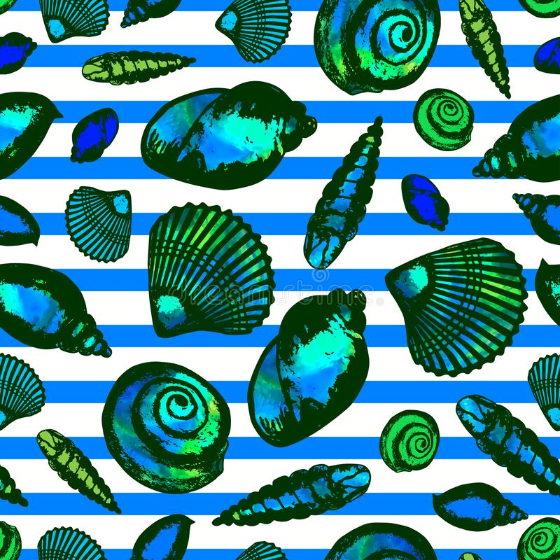 Wektorowa nakreślenie ilustracja - seashells bezszwowy wzoru Akwareli plamy ilustracja wektor