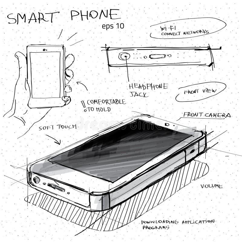 Wektorowa nakreślenie ilustracja - smartphone z ekranu sensorowego pokazem ilustracji