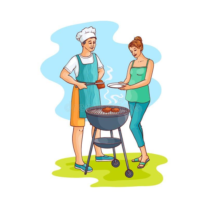 Wektorowa nakreślenie kobieta bierze przygotowanego bbq mięso ilustracji