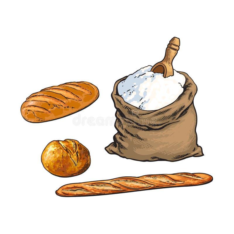 Wektorowa nakreślenie mąki torba, chleb, baguette set ilustracja wektor