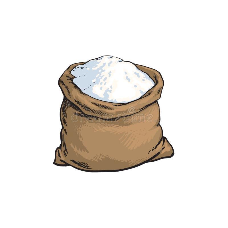 Wektorowa nakreślenie mąki torba odizolowywająca royalty ilustracja