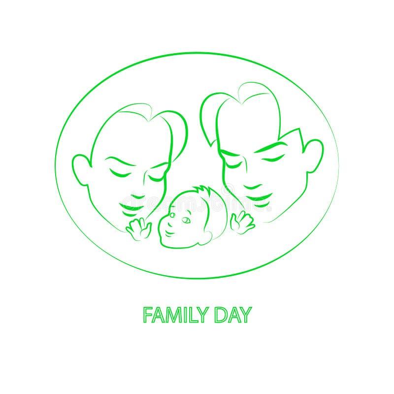 Wektorowa nakreślenie mama, tata trzyma małego dziecka i ilustracja wektor