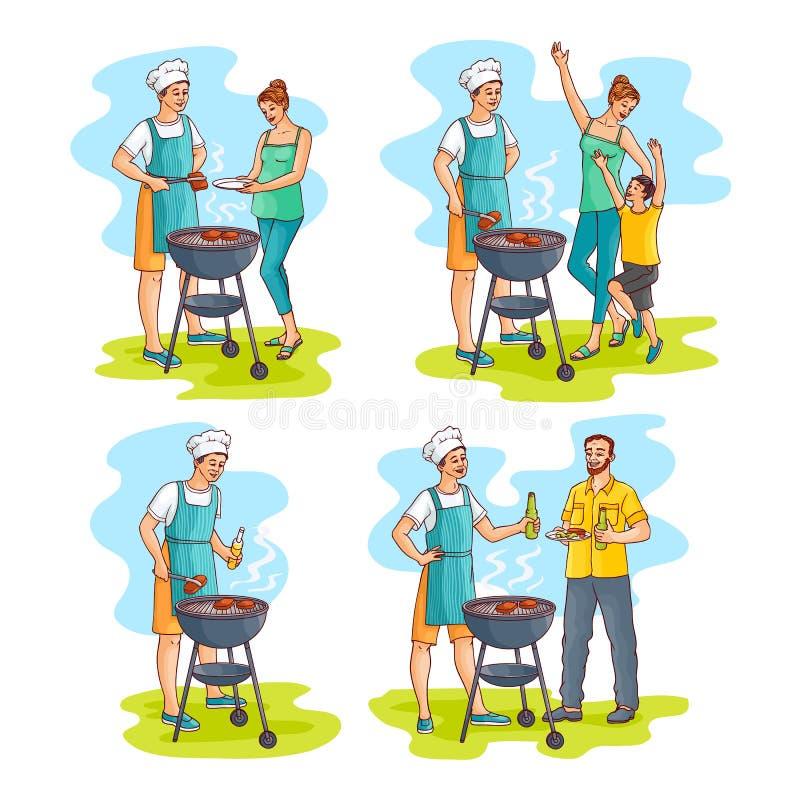 Wektorowa nakreślenie rodzina przy bbq przyjęcia scenami ustawiać ilustracji