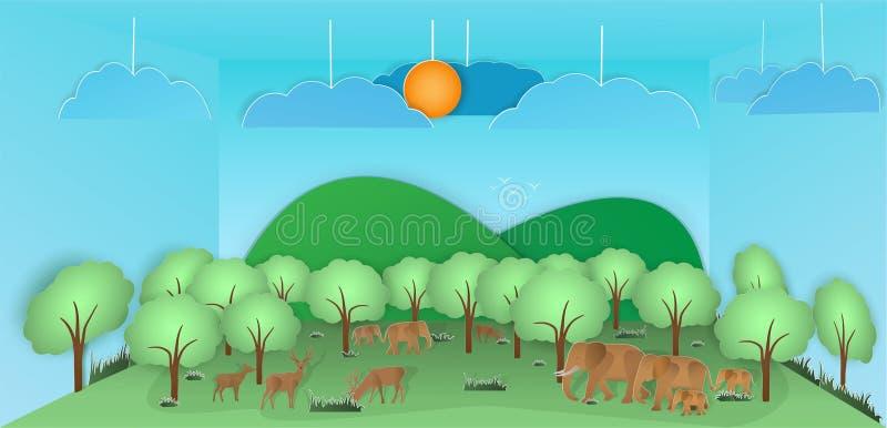 Wektorowa natura i las dokąd dziki a, rogacze i słonie I ilustracja wektor
