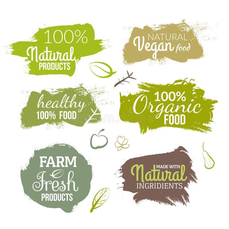 Wektorowa naturalna żywności organicznej etykietka Produktu rolniczego eco projekta akwareli styl royalty ilustracja
