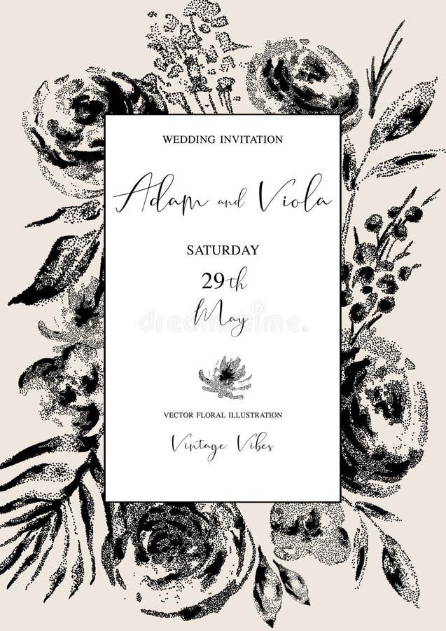 Wektorowa naturalna pionowo rama, kartka z pozdrowieniami, rocznika kwiecisty bukiet z rocznik różami ilustracja wektor