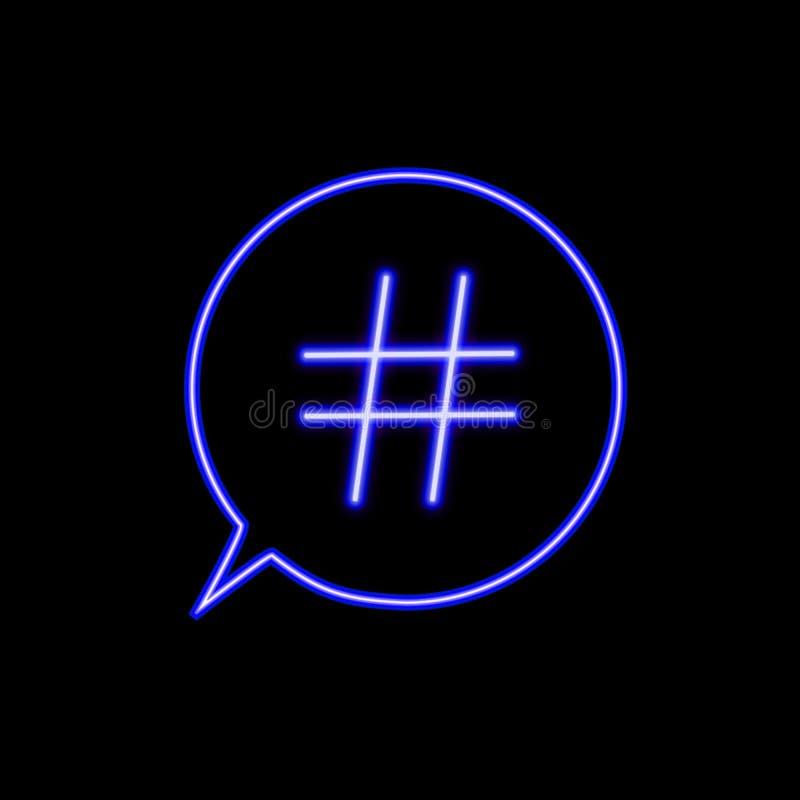 Wektorowa Neonowa Hashtag ikona w rozmowa bąblu Odizolowywającym na Czarnym Backgound, Prosta element ilustracja, Ogólnospołeczny royalty ilustracja