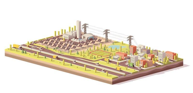 Wektorowa niska poli- energii słonecznej roślina, miasto i ilustracja wektor