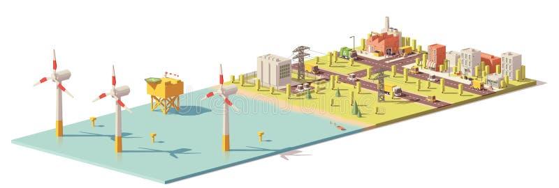 Wektorowa niska poli- silnik wiatrowy elektrownia ilustracja wektor