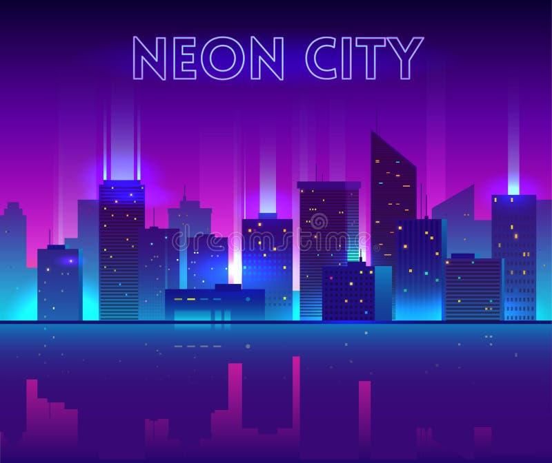 Wektorowa nocy miasta ilustracja z neonową łuną, żywymi kolorami i odbiciem, ilustracja wektor