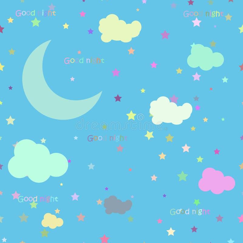 Wektorowa nocy scena z księżyc i gwiazdami bezszwowy ilustracja wektor