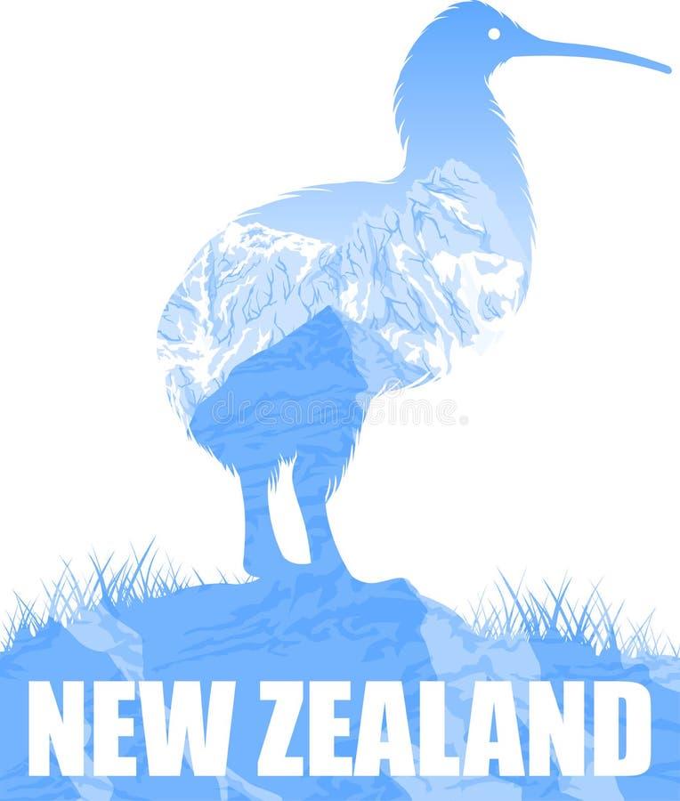 Wektorowa Nowa Zelandia ilustracja z kiwi ptakiem ilustracji