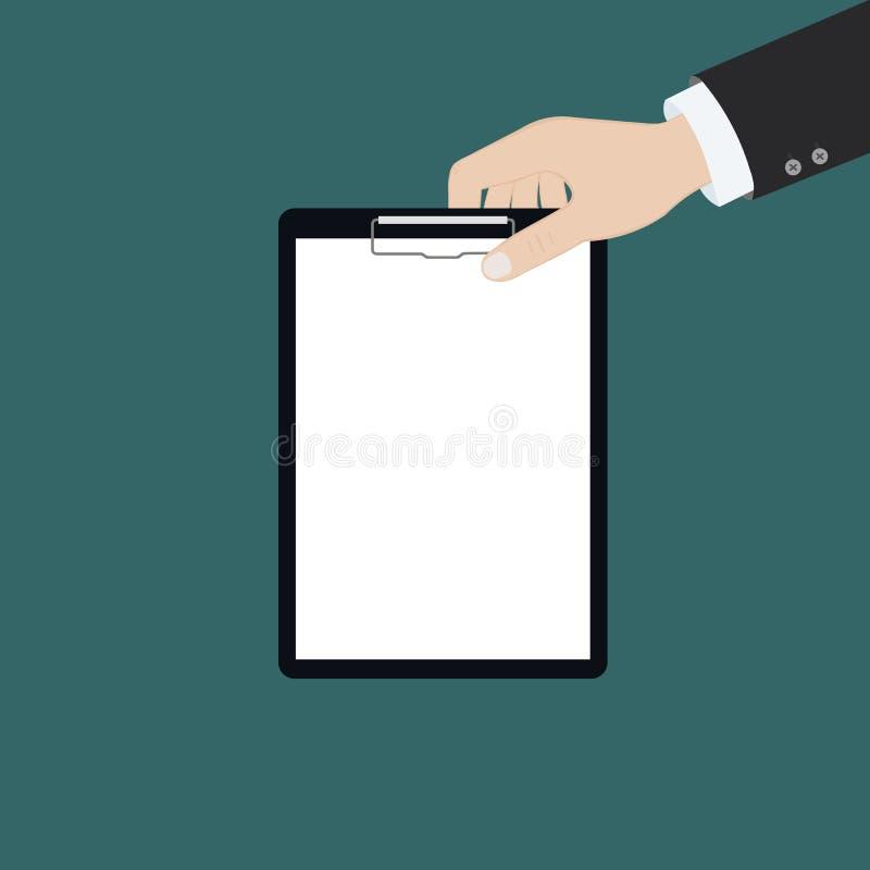Wektorowa nowożytna płaska ilustracja na rękach trzyma schowek z pustym prześcieradłem papier i ołówek | Schowek z pustym papiere royalty ilustracja
