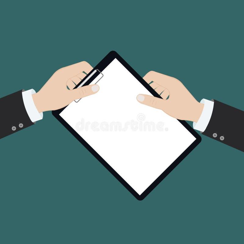 Wektorowa nowożytna płaska ilustracja na rękach trzyma schowek z pustym prześcieradłem papier i ołówek | Schowek z pustym papiere ilustracji