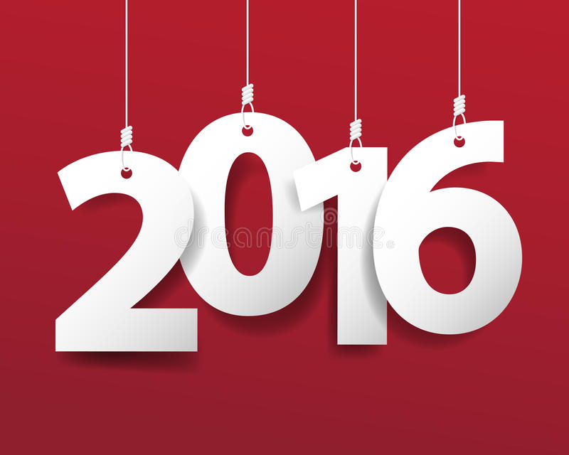 Wektorowa Nowożytna czerwona prosta Szczęśliwa nowego roku 2016 karta z długi sh ilustracji
