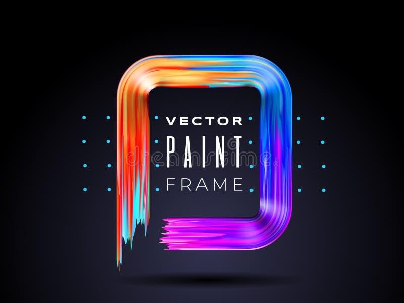 Wektorowa nowożytna kolorowa przepływ rama Rzadkopłynny akrylowej farby lub koloru brushstroke oleju projekta element w postaci royalty ilustracja