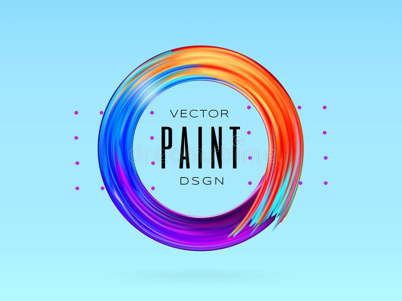 Wektorowa nowożytna kolorowa przepływ rama Rzadkopłynny akrylowej farby lub koloru brushstroke oleju projekta element w postaci o royalty ilustracja