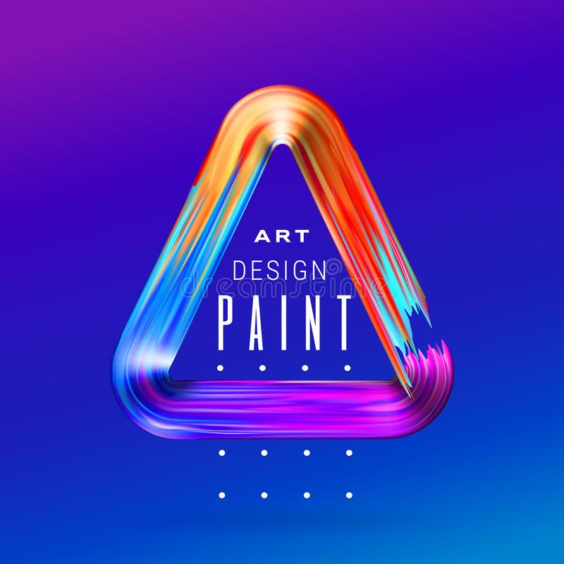 Wektorowa nowożytna kolorowa przepływ rama Rzadkopłynny akrylowej farby lub koloru brushstroke oleju projekta element w postaci t ilustracji