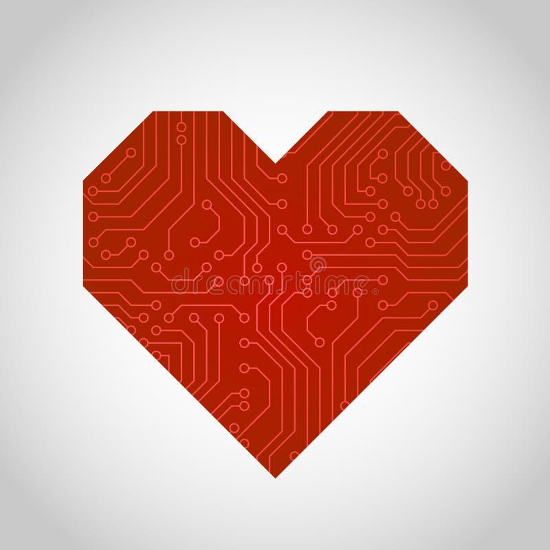 Wektorowa obwód deska lub mikroukładu serce ilustracja wektor