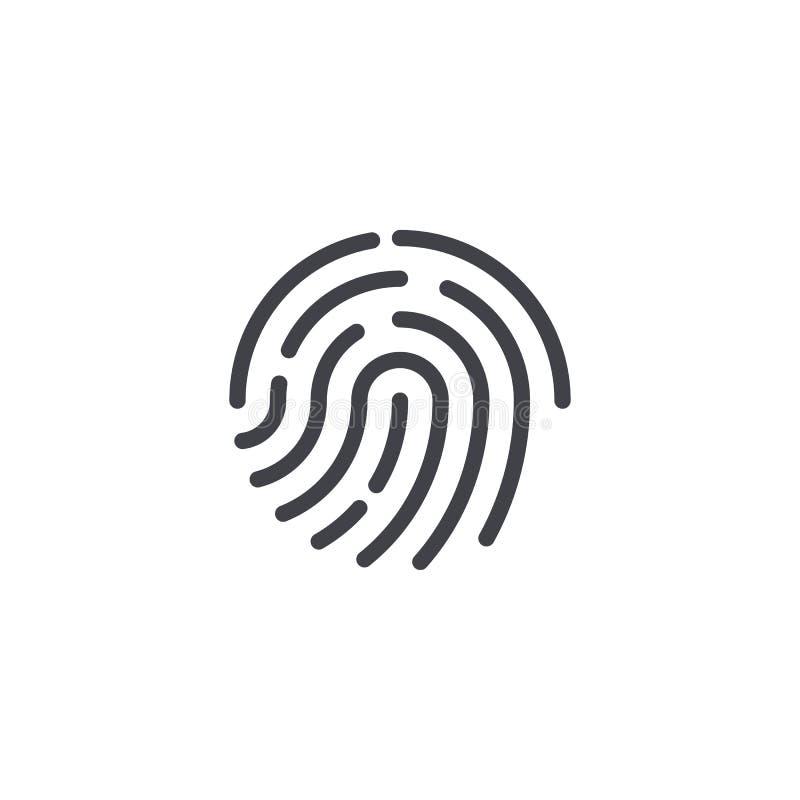Wektorowa odcisk palca ikona Odcisk palca symbolu kształt Biometryczny ochrona znak Interfejsu guzik Element dla projekta mobilne royalty ilustracja