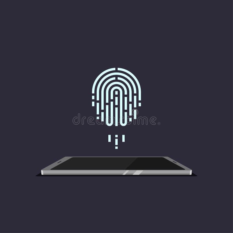 Wektorowa odcisku palca obrazu cyfrowego technologia ilustracji
