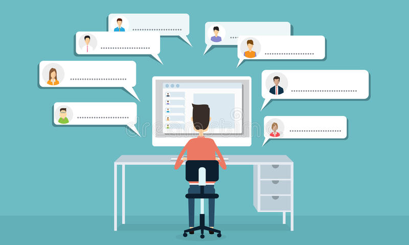 Wektorowa ogólnospołeczna sieci komunikacja i biznesowy związek ilustracji