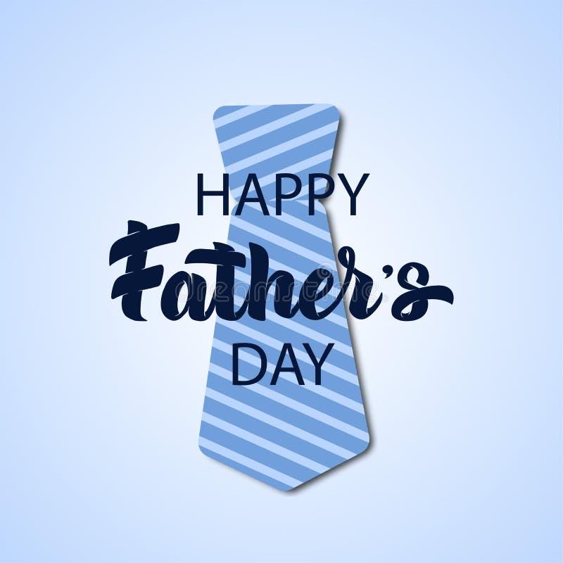 Wektorowa ojca dnia ręka rysująca piszący list kartkę z pozdrowieniami z papieru rżniętym krawatem Ojczulka krawat z linia wzorem ilustracji