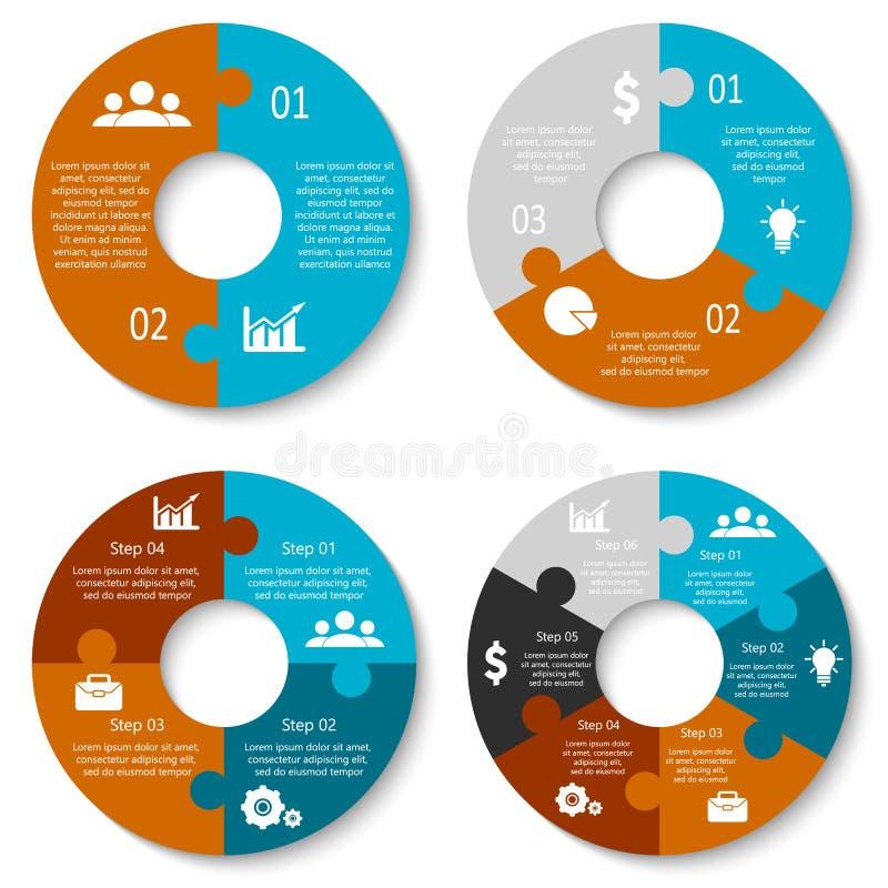 Wektorowa okrąg łamigłówka dla infographic Szablon dla jeździć na rowerze diagram, wykres i round mapę, pojęcia prowadzenia domu  royalty ilustracja
