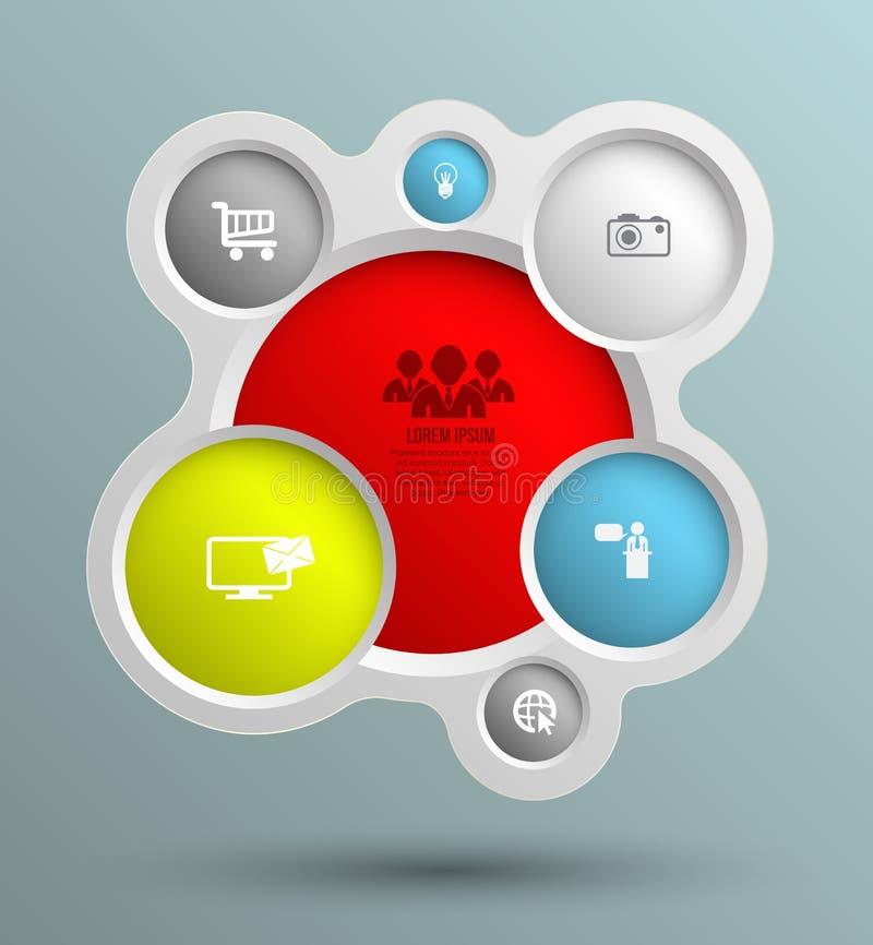 Wektorowa okrąg grupa z ikonami dla biznesowych pojęć ilustracji