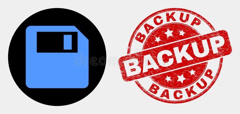 Wektorowa Opadającego dyska ikona i Grunge wsparcia Watermark ilustracji