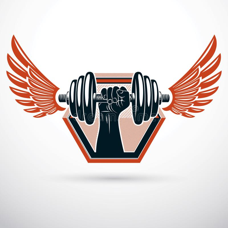 Wektorowa oskrzydlona ilustracja, bodybuilder ręki mienia mięśniowy duma royalty ilustracja