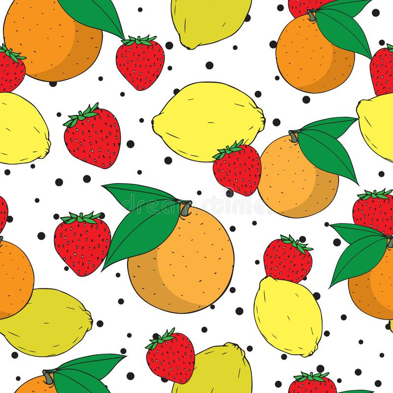 Wektorowa owocowa mieszanka pomarańcze, cytryna i truskawkowy bezszwowy deseniowy projekt, ilustracja wektor