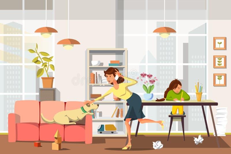 Wektorowa Płaska mama jest Bardzo Ruchliwie Opowiadać na telefonie ilustracji