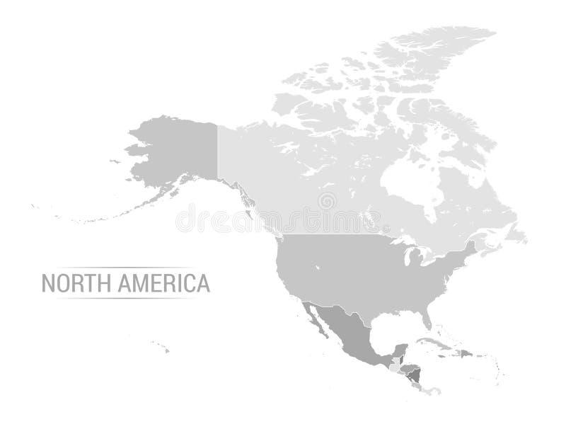 Wektorowa Północna Ameryka popielata mapa ilustracja wektor
