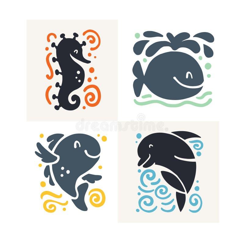 Wektorowa płaska śliczna śmieszna ręka rysująca morskiego zwierzęcia sylwetka odizolowywająca na białym tle seahorse, wieloryb, r ilustracji