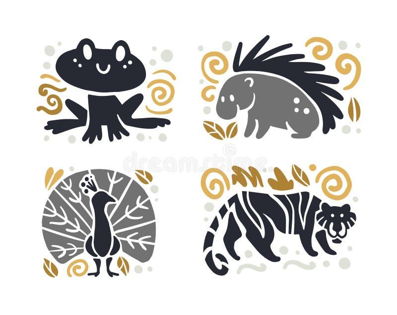 Wektorowa płaska śliczna śmieszna ręka rysująca zwierzęca sylwetka odizolowywająca na białym tle żaba, jeżatka, tygrys i paw -, ilustracji