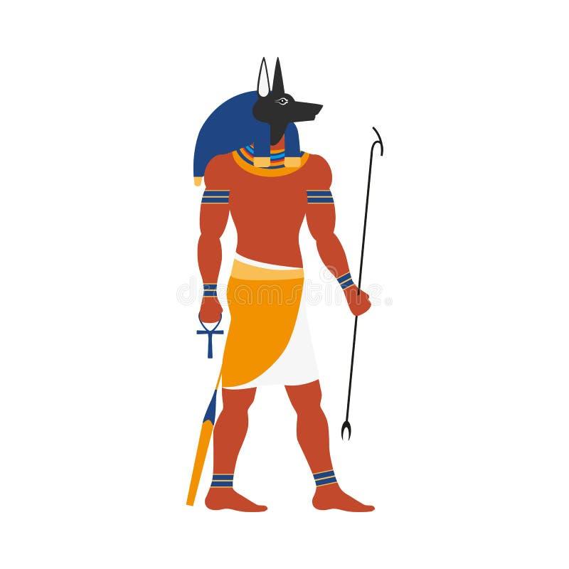 Wektorowa płaska Anubis Egypt bóg ikona ilustracja wektor