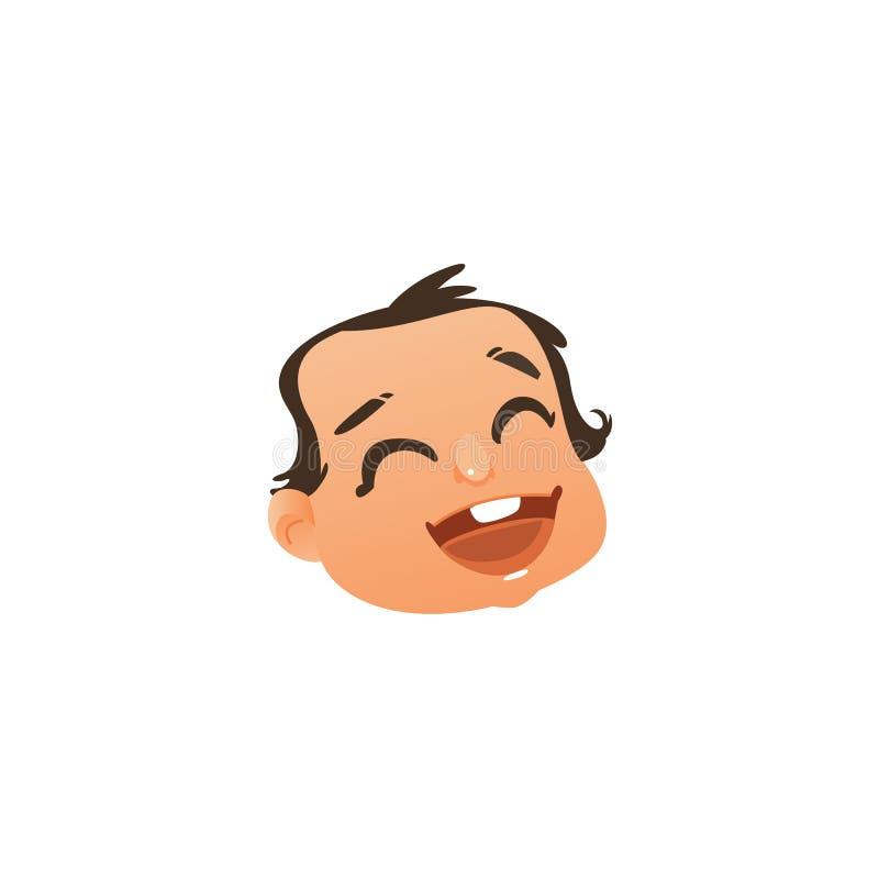 Wektorowa płaska dziecko twarz z szczęśliwym wyrazem twarzy royalty ilustracja