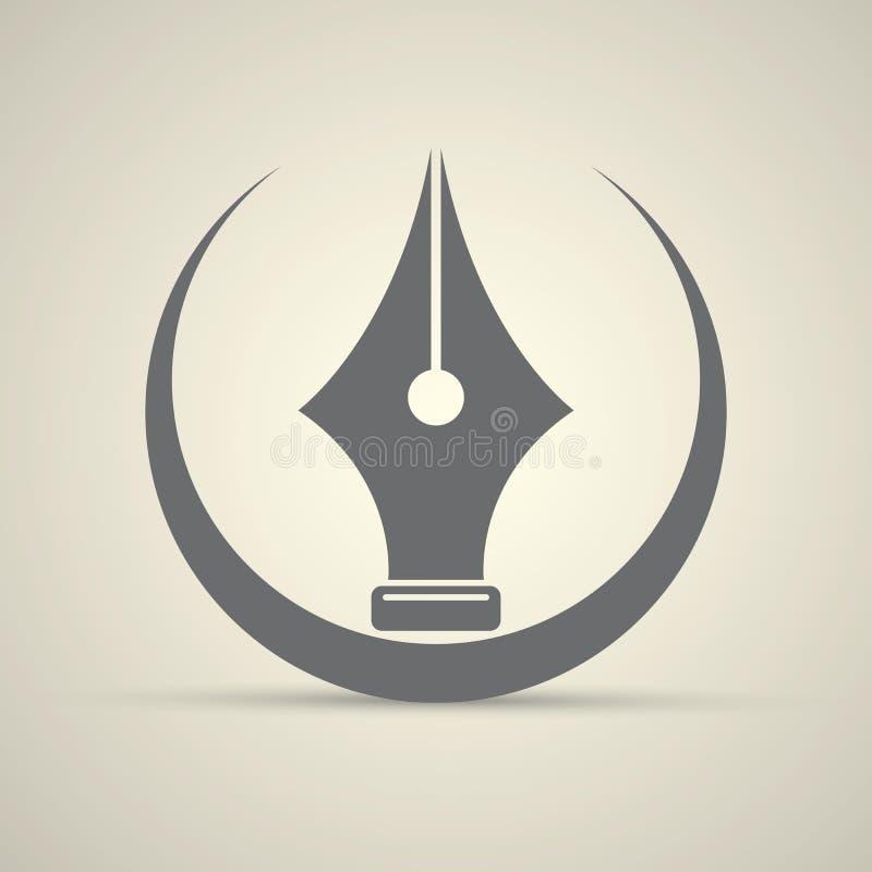 Wektorowa płaska fontanny pióra ikona odizolowywająca ilustracja wektor