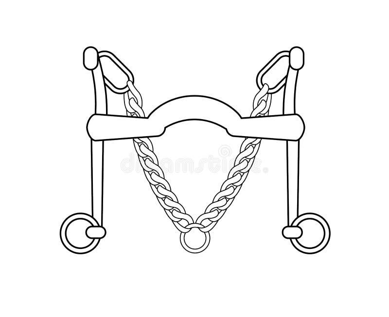 Wektorowa płaska ikona dressage krawężnika koński kawałek ilustracji