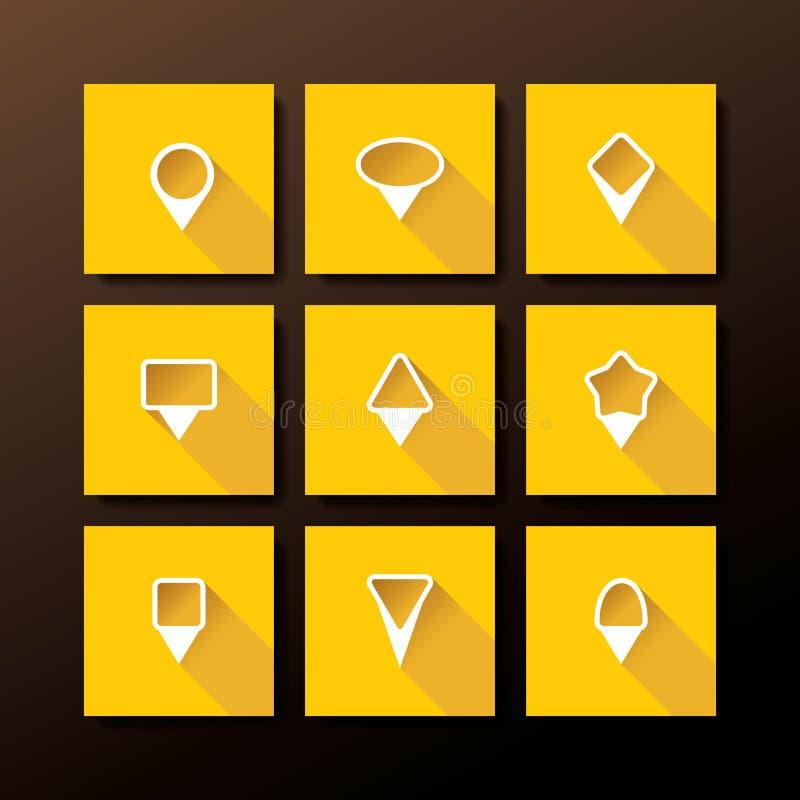 Wektorowa płaska ikona ustawiająca - map szpilki ilustracji
